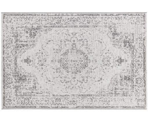 In- en outdoor vloerkleed Cenon in vintage stijl, Polypropyleen, Crèmekleurig, grijs, B 155 x L 230 cm (maat M)