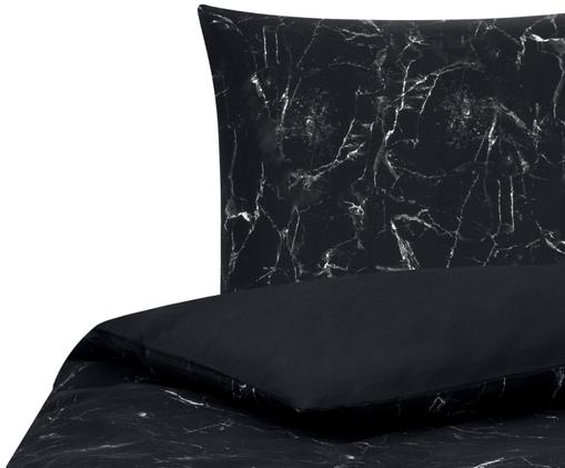Perkálové povlečení smramorovaným vzorem Malin, Černá
