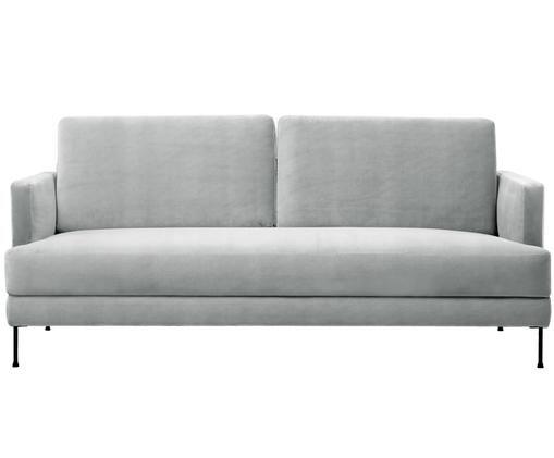 Sofá de terciopelo Fluente (3plazas), Tapizado: terciopelo (tapizado de p, Estructura: madera de pino maciza, Patas: metal lacado, Terciopelo gris claro, An 197 x F 83 cm