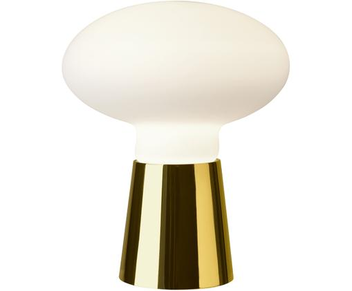 Tischleuchte Bilbao asu Opalglas, Messingfarben, Weiß