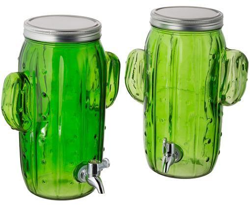 Set dispenser bevande Kaktus, 2 pz., Toni verdi, Larg. 23 x Alt. 30 cm