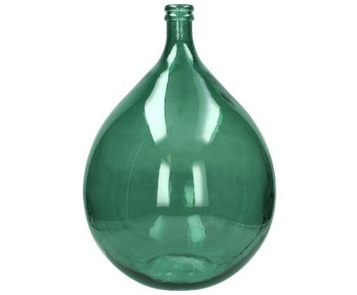 Vloervaas Drop van gerecycled glas, Gerecycled glas, Groen, H 56 cm