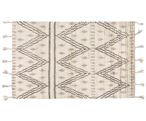 Handgewebter Wollteppich Berber mit Fransen im Ethno Style