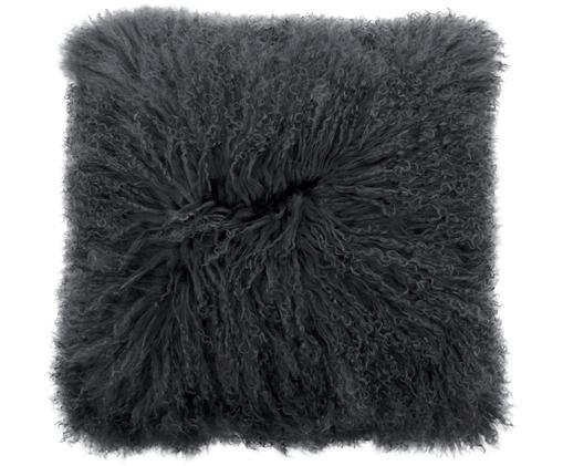 Federa arredo in pelliccia d'agnello a pelo lungo Ella, Retro: 100% poliestere, Grigio, Larg. 40 x Lung. 40 cm