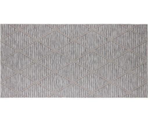 In- und Outdoorteppich Yonne mit Rautenmuster, Polypropylen, Grau, Creme, meliert, B 75 x L 150 cm (Größe XS)