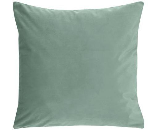 Federa arredo in velluto lucido Monet, 100% velluto di poliestere, Verde menta, Larg. 50 x Lung. 50 cm