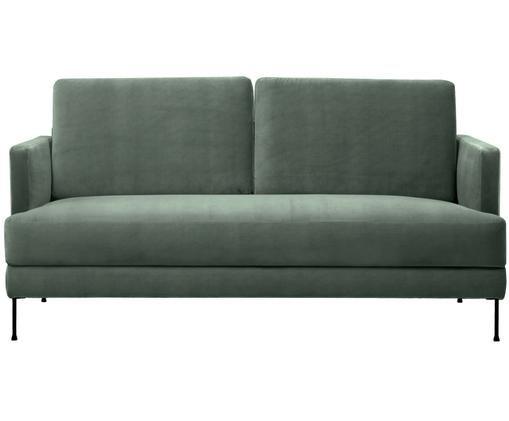 Samt-Sofa Fluente (2-Sitzer), Bezug: Samt (Hochwertiger Polyes, Gestell: Massives Kiefernholz, Füße: Metall, lackiert, Grün, B 168 x T 83 cm