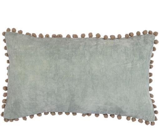 Federa in velluto con pompon Avoriaz, 70% velluto di poliestere, 30% acrilico, Verde menta, Larg. 30 x Lung. 50 cm