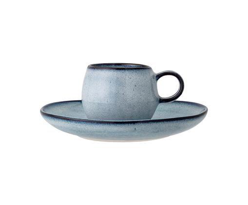 Handgemachtes Espressotassen-Set Sandrine mit Untertassen, 2-tlg., Steingut, Blautöne, Sondergrößen