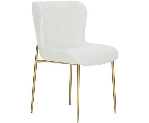 Krzesło tapicerowane bouclé Tess, Tapicerka: 70% poliester, 20% wiskoz, Nogi: metal powlekany, Kremowobiały, odcienie złotego, S 48 x G 64 cm