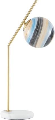 Große Tischlampe Opal mit Marmorfuß