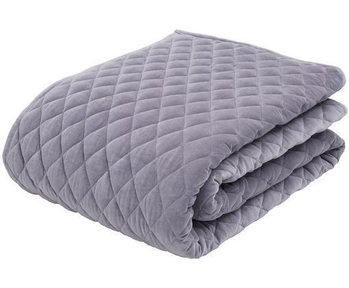 Colcha de terciopelo Cosima, Parte superior: 100%terciopelo de algodó, Reverso: 100%algodón, Gris, lila, An 160 x L 220 cm