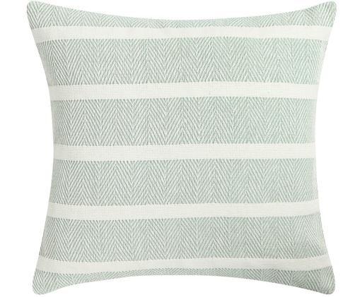 Poduszka Stripy, Miętowy, złamana biel, S 45 x D 45 cm