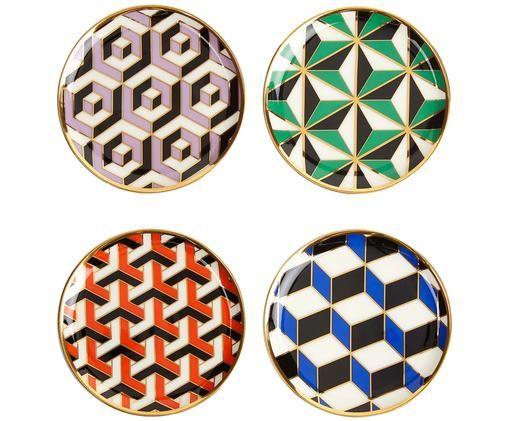 Ensemble de soucoupes design Versailles, plaqués or, 4élém., Accents multicolores et dorés
