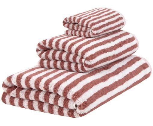 Set asciugamani reversibili Viola, 3 pz., 100% cotone, qualità media 550 g/m², Terracotta, bianco crema, Diverse dimensioni