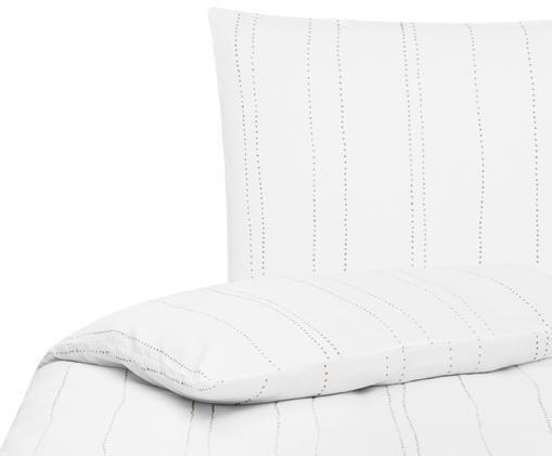 Pościel z lnu Lilo, 52% len, 48% bawełna Z efektem stonewash zapewniającym miękkość w dotyku, Biały, taupe, 155 x 220 cm