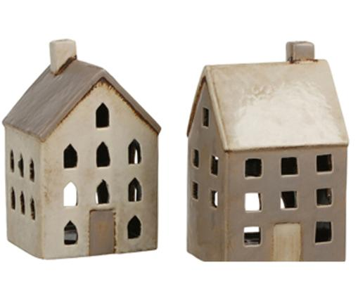Set di casette portacandele House, 2 pz., Ceramica, Beige, taupe, Larg. 10 x Alt. 20 cm