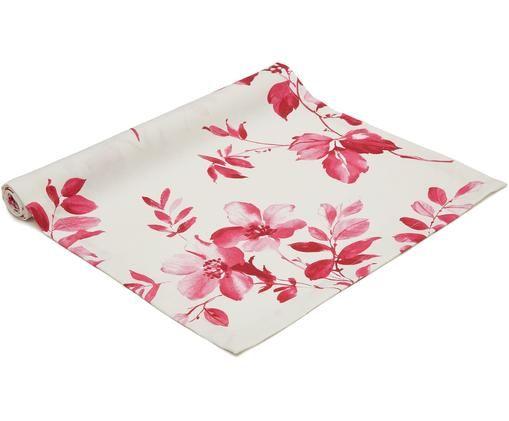 Bieżnik Yamina, Bawełna, Biały, odcienie różowego, S 50 x D 160 cm