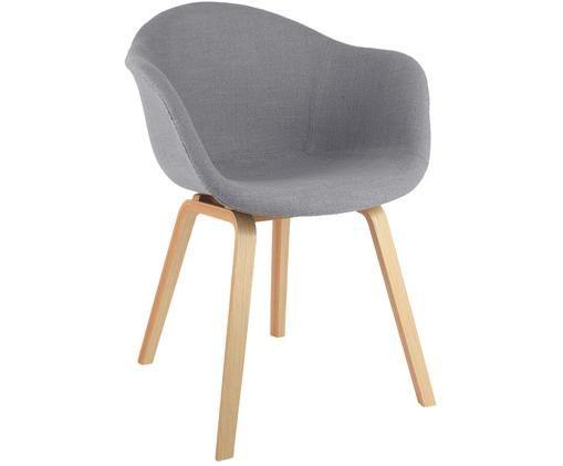 Krzesło tapicerowane z podłokietnikami Claire, Tapicerka: poliester 20000 cykli w , Tapicerka: pianka, Nogi: drewno bukowe, Poszewka: szary Nogi: drewno bukowe, S 61 x G 58 cm