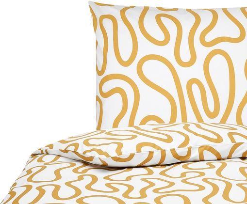 Pościel z perkalu Elliot, Biały, żółty, 135 x 200 cm