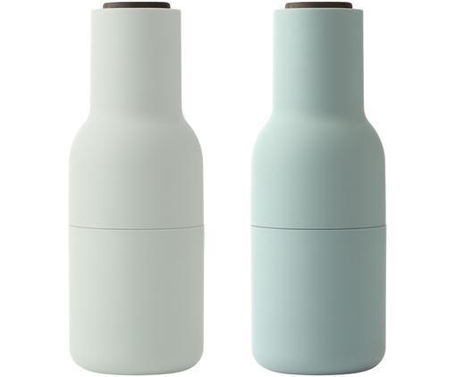 Set macinaspezie Bottle Grinder, 2 pz., Coperchio: legno di noce, Tonalità verdi, Ø 8 x Alt. 21 cm
