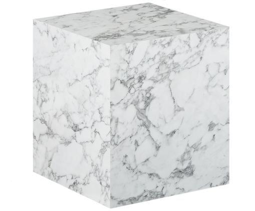 Odkládací stolek simitací mramoru Lesley, Bílá, mramorovaná