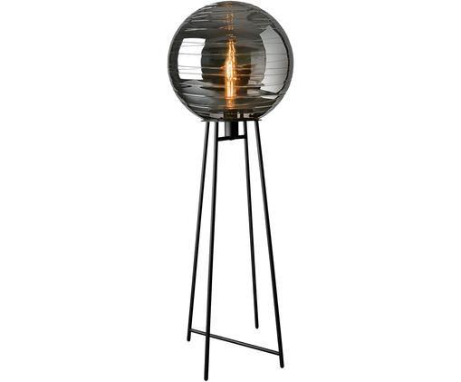Stehlampe Lantaren aus Glas, Lampenschirm: Glas, Lampenfuß: Metall, lackiert, Grau, Schwarz, Ø 37 x H 117 cm