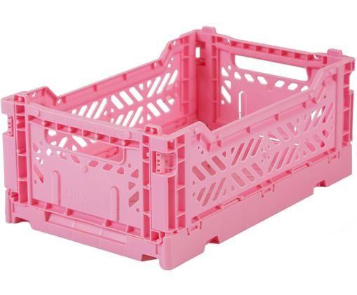 Cesta piccola pieghevole ed impilabile Baby Pink, Materiale sintetico riciclato, Rosa, Larg. 27 x Alt. 11 cm