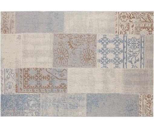 In-  und Outdoorteppich Symi im Patchwork-Design, Polypropylen, Beige, Blau, Braun, Grau, B 200 x L 290 cm (Größe L)