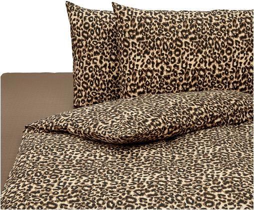 Completo copripiumino Leopard, Cotone, Marrone, beige, 200 x 255 cm