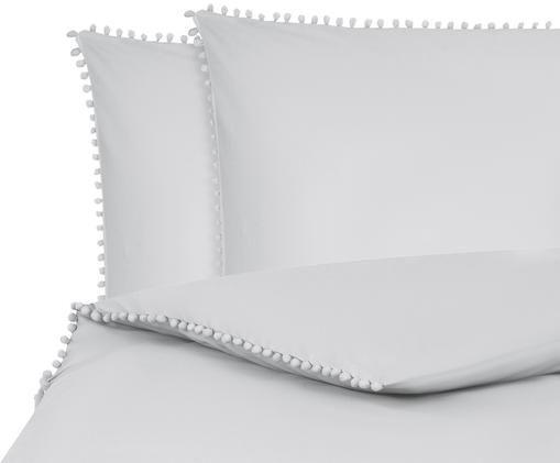 Pościel z perkalu z pomponami Bommy, Jasny szary, 200 x 200 cm