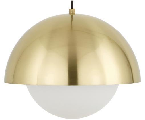 Hanglamp Lucille, Baldakijn: geborsteld metaal, Lampenkap: glas, Messingkleurig, wit, Ø 35 x H 30 cm
