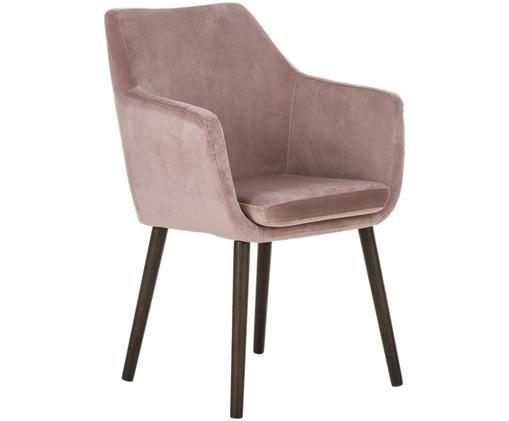 Krzesło z podłokietnikami z aksamitu Nora, Tapicerka: poliester (aksamit), Nogi: drewno dębowe, bejcowane, Blady różowy, S 58 x W 84 cm