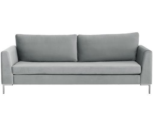 Samt-Sofa Luna (3-Sitzer), Bezug: Samt (Polyester) 80.000 S, Gestell: Massives Buchenholz, Füße: Metall, galvanisiert, Samt Hellgrau, Silber, B 230 x T 95 cm