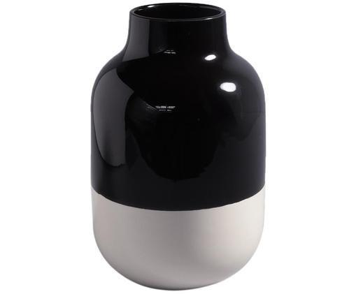 Ręcznie malowany wazon z kamionki Nuno, Kamionka, Czarny, biały, Ø 20 x W 30 cm