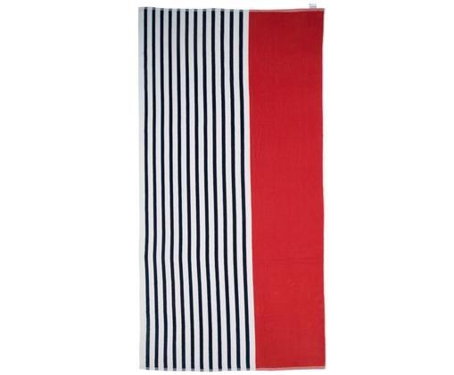 Bardzo długi ręcznik plażowy Esma, 100% bawełna, średnia gramatura, 420g/m², Czerwony, marynarski granat, kremowy, S 100 x D 200 cm