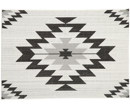 In- & Outdoorteppich Ikat, Flor: Polypropylen, Weiß, Schwarz, Grau, B 160 x L 230 cm (Größe M)