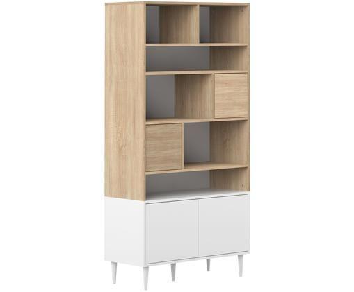 Libreria Horizon, Legno di quercia, bianco