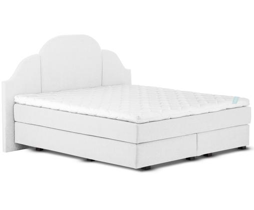 Premium boxspring bed Gloria, Matras: 7-zones-pocketveringkern , Poten: massief gelakt beukenhout, Licht witgrijs, 140 x 200 cm