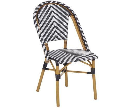 Balkonstuhl aus Polyrattan, Sitzfläche: Polyethylen-Geflecht, Beine: Metall, pulverbeschichtet, Schwarz,Weiß, B 48 x T 58 cm