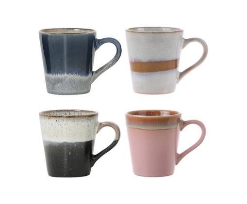 Handgefertigtes Espressotassen-Set 70's, 4-tlg., Keramik, Rosa, Grau, Blau, Ø 6 x H 6 cm