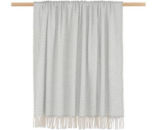 Plaid Zigzag, 70% Baumwolle, 30% Polyester Pflegehinweise  Maschinenwäsche bei 30 °C, nicht trocknergeeignet, Grau mit cremfarbenem Fransenabschluss, 130 x 170 cm