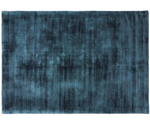 Alfombra artesanal de viscosa Jane, Parte superior: 100%viscosa, Reverso: 100%algodón, Azul petróleo, An 160 x L 230 cm (Tamaño M)