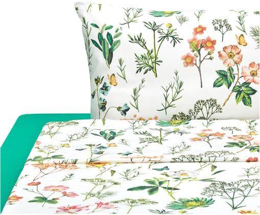 Completo letto Botanico, Bianco, verde, multicolore