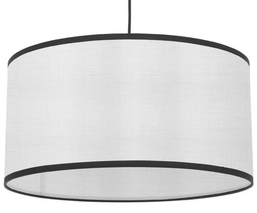 Lampa wisząca z lnu Claudette, Kremowy, czarny, Ø 50 x W 25 cm