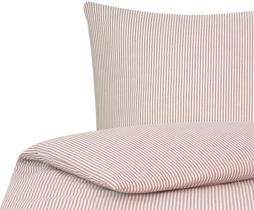 Parure copripiumino renforcé finemente rigata Ellie, Tessuto: Renforcé, Bianco, rosso, 155 x 200 cm