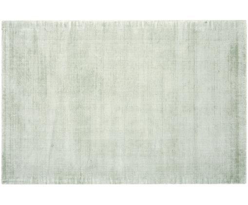 Alfombra artesanal de viscosa Jane, Parte superior: 100%viscosa, Reverso: 100%algodón, Verde menta, An 200 x L 300 cm (Tamaño L)