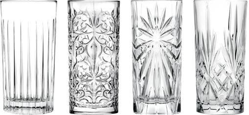 Kristall-Longdrinkgläser Bichiera mit Reliefmuster, 4er-Set