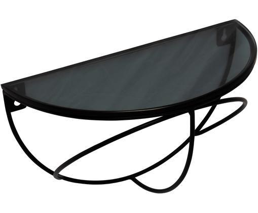 Półka ścienna Lily, Metal powlekany, szkło, Czarny, szary, transparentny, S 35 x W 20 cm