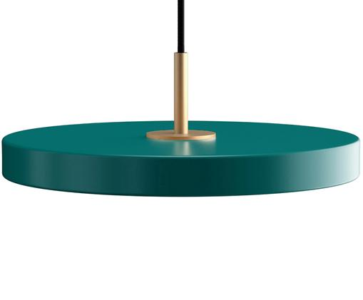 Lampada a sospensione a LED di design Asteria, Paralume: alluminio verniciato, Verde scuro, Ø 31 x Alt. 14 cm